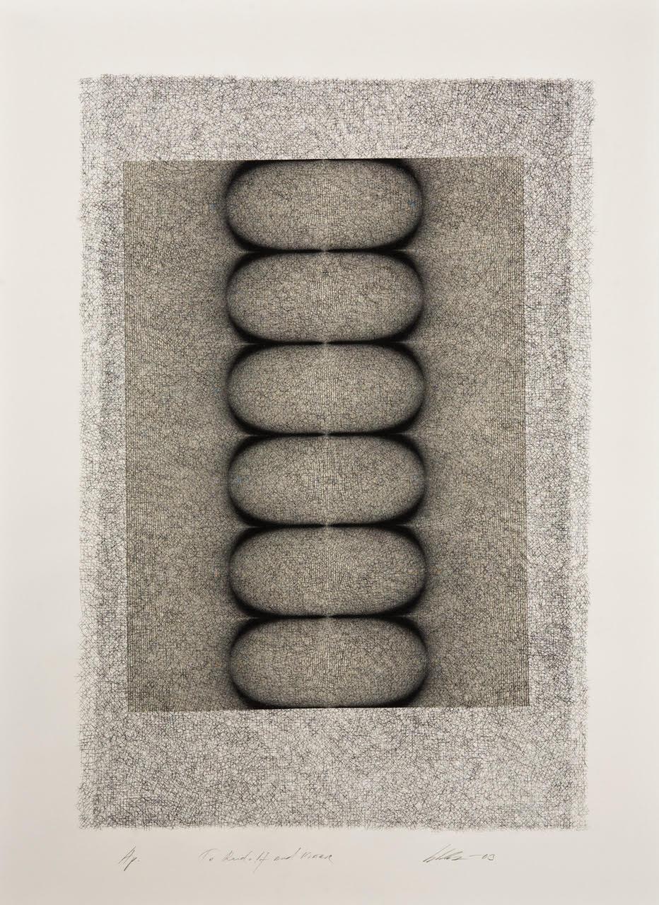 Kari Vallius, steengravure, digital print, chine collé (foto Rudolf Broulim)